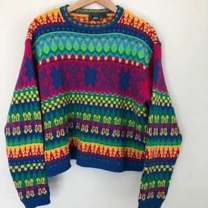 LizWear Womens Small Bright Colors Sweater 80's